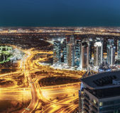 Aerial view of large highway junction in Dubai, UAE, at night Royalty Free Stock Photo