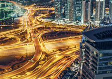 Aerial view of large highway junction in Dubai, UAE, at night Stock Photos