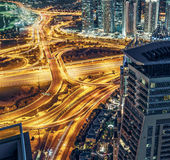 Aerial view of large highway junction in Dubai, UAE Stock Images