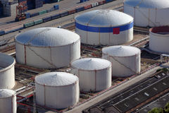 Aerial view of large oil tanks. Large gas tanks seen from the obove Royalty Free Stock Image