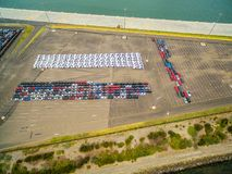 Aerial view of large parking lot with new imported cars in Port Melbourne, Australia. Aerial view of large parking lot with new imported cars in Port Melbourne royalty free stock images