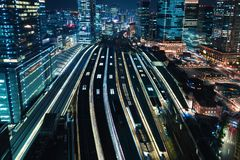 Aerial view of a large train station in Tokyo. Japan Stock Images