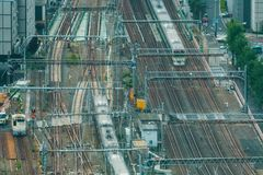 Aerial view of a large train station in Tokyo. Japan Royalty Free Stock Images