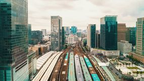 Aerial view of a large train station in Tokyo. Japan Royalty Free Stock Photo