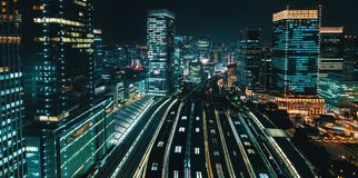 Aerial view of a large train station in Tokyo Royalty Free Stock Photo