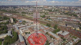 Aerial view of a Large transmission tower stock video