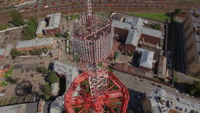 Aerial view of a Large transmission tower stock video footage