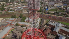 Aerial view of a Large transmission tower stock footage