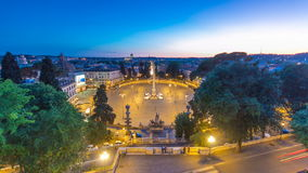 Aerial view of the large urban square, the Piazza del Popolo day to night timelapse, Rome after sunset. Aerial view of the large urban square, the Piazza del stock video footage