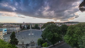 Aerial view of the large urban square, the Piazza del Popolo timelapse, Rome at sunset stock footage