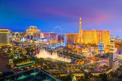 Aerial view of Las Vegas strip in Nevada stock photo