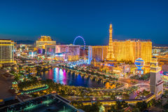 Aerial view of Las Vegas strip in Nevada. As seen at night  USA Royalty Free Stock Photos