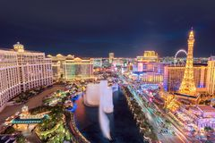 Aerial view of Las Vegas strip at night. On July 25, 2017 in Las Vegas, Nevada. Bellagio hotel, Caesars Palace and Paris Hotel and casino are in the background stock image