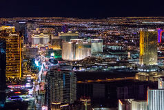 Aerial view of Las Vegas Strip at night - Las Vegas, Nevada, USA royalty free stock photo