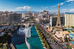 Aerial view of Las Vegas strip at sunny day. On July 25, 2017 in Las Vegas, Nevada. Bellagio hotel, Caesars Palace and Paris Hotel and casino are in the royalty free stock photo