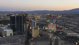 An Aerial View of Las Vegas at Twilight Stock Photo