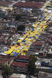 Aerial view of latin american street market Royalty Free Stock Photo