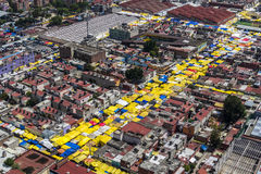 Aerial view of latin street market Royalty Free Stock Image