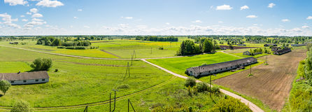 Aerial view of Latvian countryside. Fields and towns Stock Photography