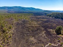 Aerial view of Lava Cast Forest of Newberry Volcano Monument royalty free stock photography