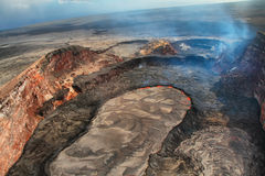 Aerial view of lava lake of Puu Oo crater Stock Photo