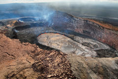 Aerial view of lava lake of Puu Oo crater Royalty Free Stock Photos