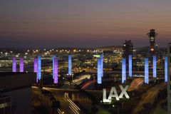 Aerial view of LAX. Los Angeles International Airport at sunset with decorative light tubes, Los Angeles, California Royalty Free Stock Photography