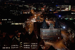 Aerial view of Lübeck by night Royalty Free Stock Photos