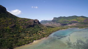 Aerial View: Le Morne Brabant stock video footage