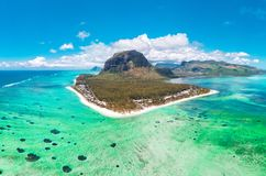 Aerial view of Le morne Brabant in Mauriutius, panoramic view on island. stock photo