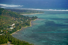 Aerial view of Le Morne Brabant village  in Mauritius Royalty Free Stock Photos
