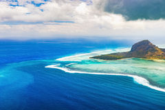 Aerial view of Le Morne Brabantl. Mauritius Stock Image