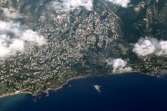 Aerial View of Lebanese Coastline at Byblos royalty free stock images