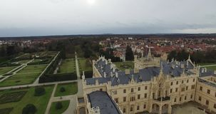 Aerial view of Lednice Castle in Czech Republic. Aerial view of Lednice Castle, South Moravia, Czech Republic stock video