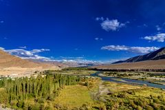 Aerial view of Leh City, Landscape of Ladakh, Jammu and Kashmir, India Royalty Free Stock Photos