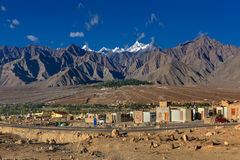 Aerial view of Leh City, Landscape , Ladakh, Jammu and Kashmir, India. Aerial view of Leh City, landscape with ice peaks , blue sky in background , Ladakh, Jammu Royalty Free Stock Photography