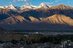 Aerial view of Leh city in the morning from Leh Palace, India. Leh was the capital of the Himalayan kingdom of Ladakh, now the Leh district in the Indian state Royalty Free Stock Images