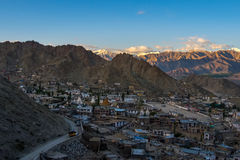 Aerial view of Leh city in the morning from Leh Palace, India. Leh was the capital of the Himalayan kingdom of Ladakh, now the Leh district in the Indian state Stock Image