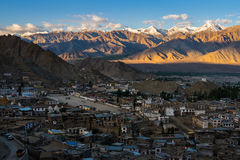 Aerial view of Leh city in the morning from Leh Palace, India. Leh was the capital of the Himalayan kingdom of Ladakh, now the Leh district in the Indian state Stock Photography