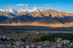Aerial view of Leh city in the morning from Leh Palace, India. Leh was the capital of the Himalayan kingdom of Ladakh, now the Leh district in the Indian state Royalty Free Stock Photography