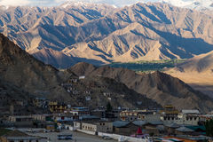 Aerial view of Leh city in the morning from Leh Palace, India. Leh was the capital of the Himalayan kingdom of Ladakh, now the Leh district in the Indian state Stock Photo