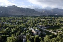 Aerial view of the Leh town from the aeroplane. Aerial view of the green part of the Leh town from the aeroplane just before landing stock photos