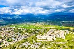 Aerial view of Lekuresi Castle in Saranda, Albania stock images