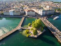 Aerial view of Leman lake -  Geneva city in Switzerland Royalty Free Stock Photography