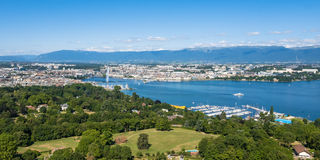 Aerial view of Leman lake   Geneva city in Switzerland Royalty Free Stock Images