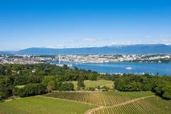 Aerial view of Leman lake  Geneva city in Switzerland Royalty Free Stock Photos