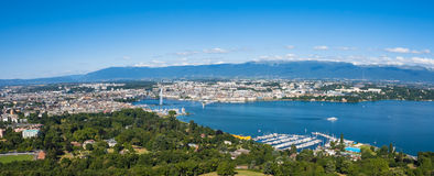 Aerial view of Leman lake -  Geneva city in Switzerland Stock Photos