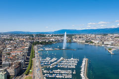 Aerial view of Leman lake -  Geneva city in Switzerland Royalty Free Stock Photo