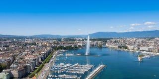 Aerial view of Leman lake -  Geneva city in Switzerland Royalty Free Stock Photos