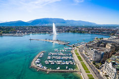 Aerial view of Leman lake - Geneva city in Switzerland royalty free stock image